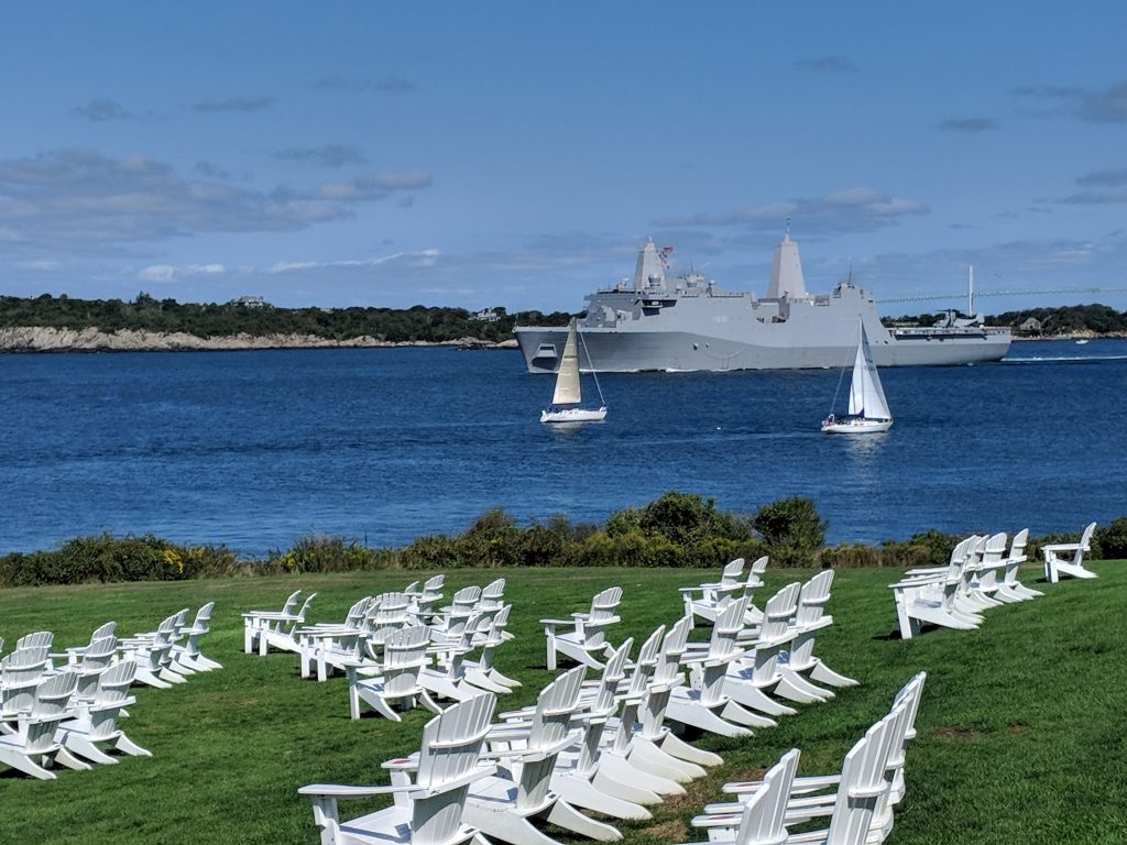 Photo of the USS New York floating by